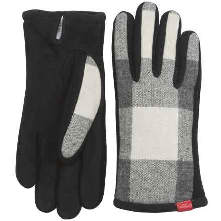 Woolrich Mill Wool and Suede Driving Gloves (For Women) in Vanilla Check - Closeouts