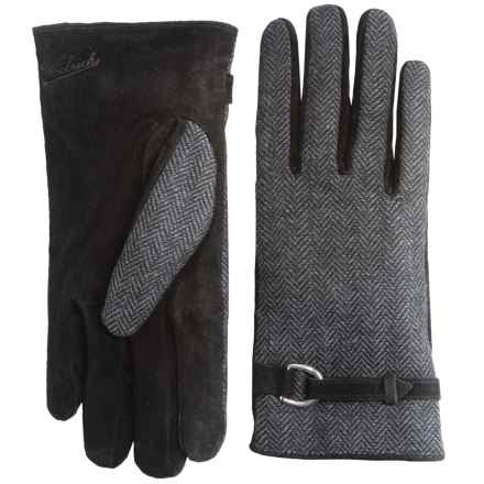 Woolrich Milltown Gloves - Suede, Fleece Lined (For Women) in Charcoal Herringbone - Closeouts