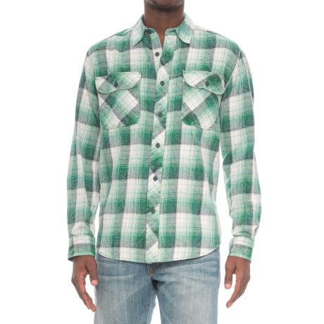 Woolrich Miners Wash Flannel Shirt - Long Sleeve (For Men) in Forest Green