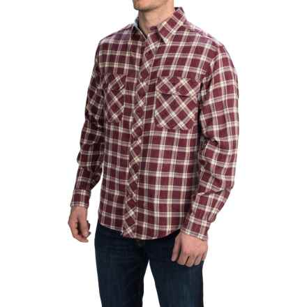 Woolrich Miners Wash Flannel Shirt - Long Sleeve (For Men) in Oxblood Check - Closeouts