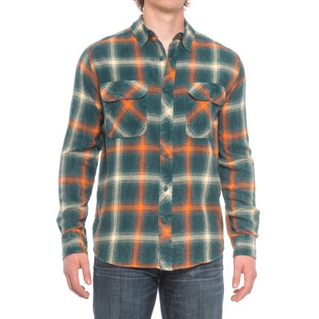 Woolrich Miners Wash Flannel Shirt - Long Sleeve (For Men) in Pacific Teal