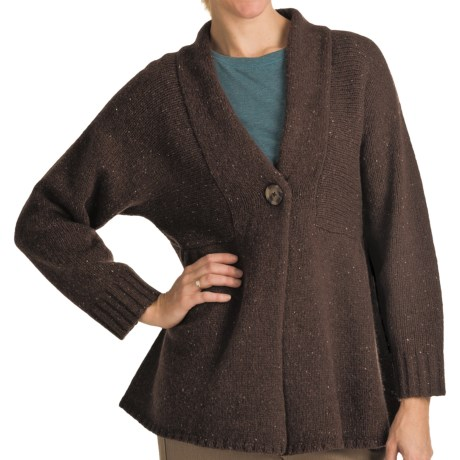 Woolrich Mountainside Shetland Wool Cardigan Sweater - Single Button (For Women) in Dark Roast