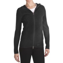 Woolrich Navigator Hooded Cardigan Sweater - Overwashed Merino Wool (For Women) in Black - Closeouts