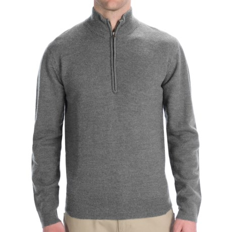 Woolrich Navigator Sweater - Zip Neck (For Men) in Grey Heather