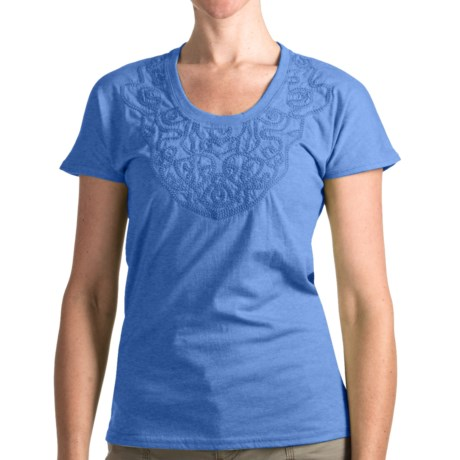 Woolrich Norrine T-Shirt - Short Sleeve (For Women) in Light Blue Moon
