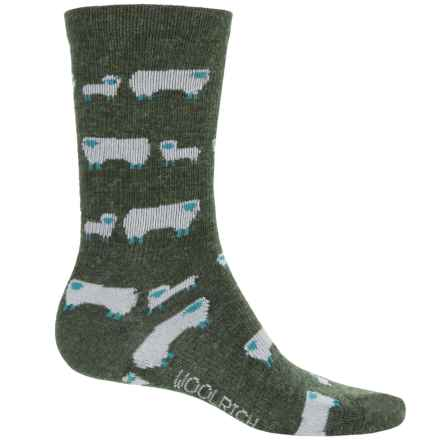 Woolrich Novelty Sheep Socks - Crew (For Women) in Dark Olive - Overstock