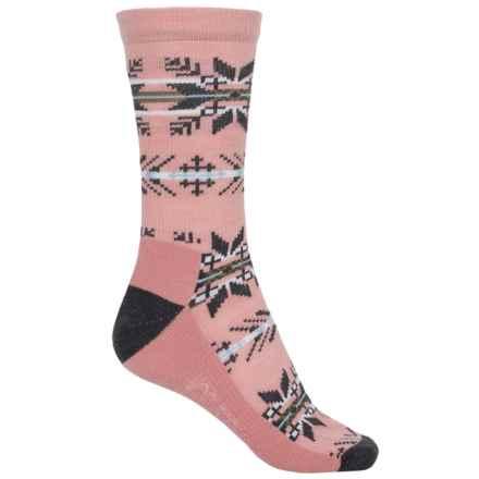 Woolrich Novelty Snowflake Stripe Socks - Merino Wool, Crew (For Women) in Blush - Closeouts