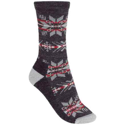 woolrich novelty snowflake stripe socks merino wool crew for women in charcoal