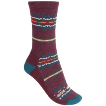 Woolrich Novelty Snowflake Stripe Socks - Merino Wool, Crew (For Women) in Fig - Closeouts