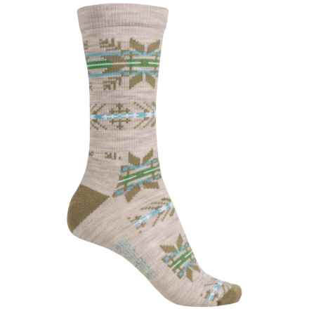 Woolrich Novelty Snowflake Stripe Socks - Merino Wool, Crew (For Women) in Oatmeal - Closeouts