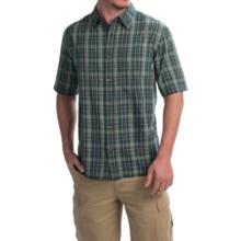Woolrich Overlook Dobby Plaid Shirt - Short Sleeve (For Men) in Deep Indigo - Closeouts