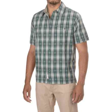 Woolrich Overlook Dobby Shirt - Organic Cotton, Short Sleeve (For Men) in Dusk - Closeouts
