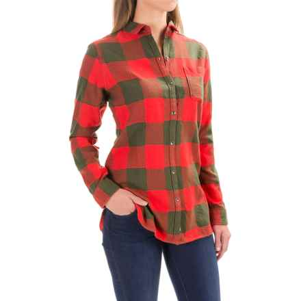 Woolrich Oxbow Bend Flannel Tunic Shirt - Long Sleeve (For Women) in Dark Guava Buffalo - Closeouts