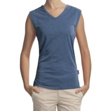 Woolrich Paradise Slub Knit T-Shirt - UPF 30+, V-Neck, Sleeveless (For Women) in Light Blue Moon - Closeouts