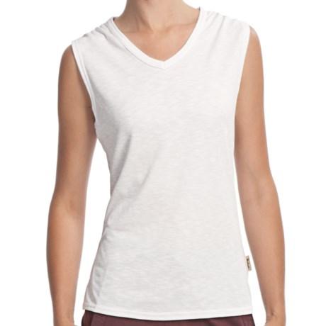 Woolrich Paradise Slub Knit T-Shirt - UPF 30+, V-Neck, Sleeveless (For Women) in White