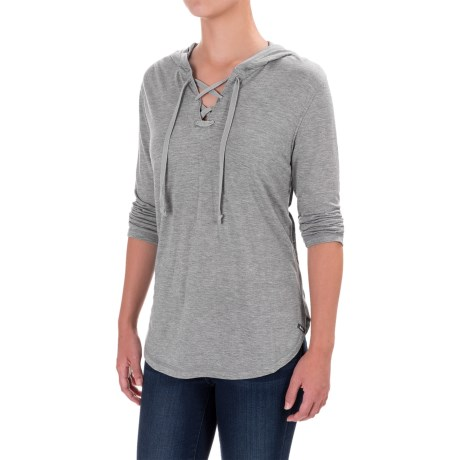 Woolrich Park Rapids Hoodie Shirt - TENCEL®-Merino Wool, Elbow Sleeve (For Women) in Stoneware Heather
