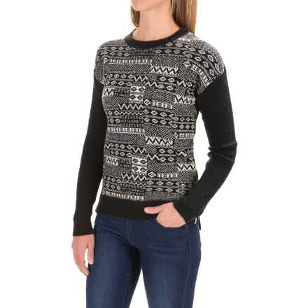 Woolrich Patchwork Crew Neck Sweater (For Women) in Black Multi - Closeouts