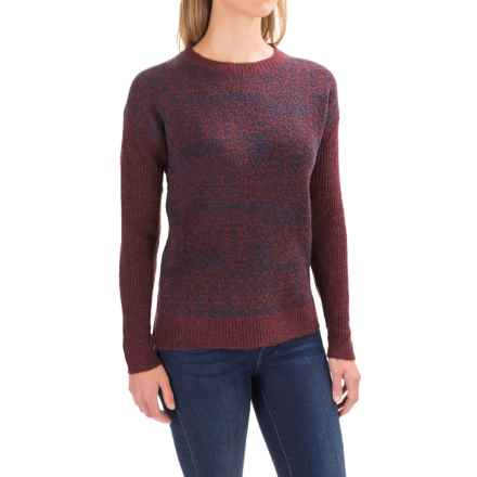 Woolrich Patchwork Crew Neck Sweater (For Women) in Burgandy Multi - Closeouts