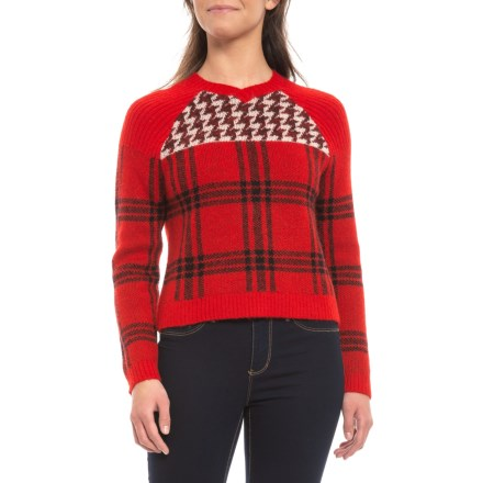 Woolrich Patterned Cropped V-Neck Sweater (For Women) in Old Red - Closeouts 455134988