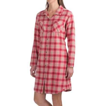 Woolrich Pemberton Cotton Flannel Pajama Top - Boyfriend, Long Sleeve (For Women) in Amaryllis Multi - Closeouts