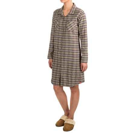 Woolrich Pemberton Cotton Flannel Pajama Top - Boyfriend, Long Sleeve (For Women) in Shale - Closeouts