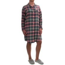 Woolrich Pemberton Flannel Nightshirt - Long Sleeve (For Women) in Faded Rose Flannel - Overstock