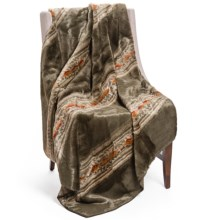"Woolrich Pennland II Throw Blanket - Plush Faux Fur, 60x68"" in Olive Navajo Stripe - Closeouts"