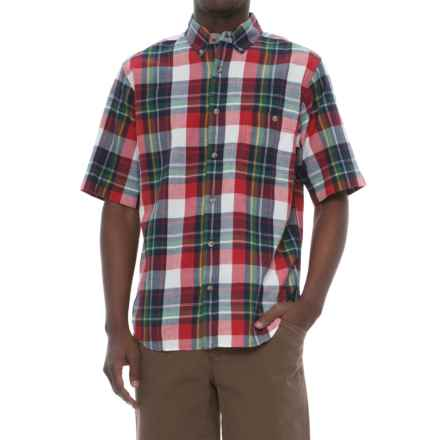 Woolrich Penn's Creek Poplin Shirt - Short Sleeve (For Men) in Red Plaid - Closeouts