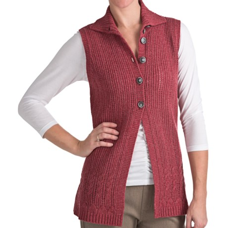 Woolrich Pine Ridge Sweater Vest - Lambswool, Button Front (For Women) in Heirloom Red