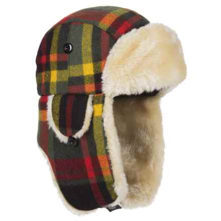 Woolrich Plaid Aviator Trapper Hat (For Men) in Red/Black - Closeouts