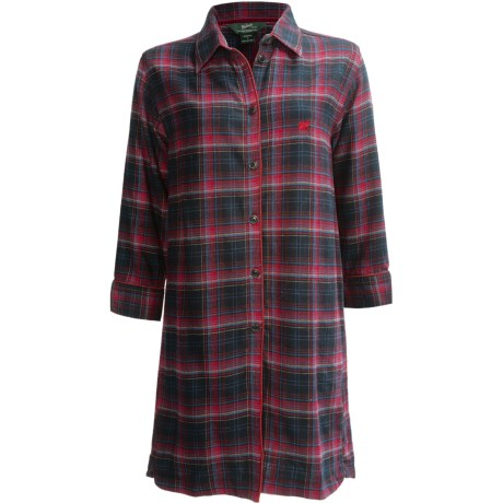 Woolrich Plaid Flannel Nightshirt - 3/4 Sleeve (For Women) in Black