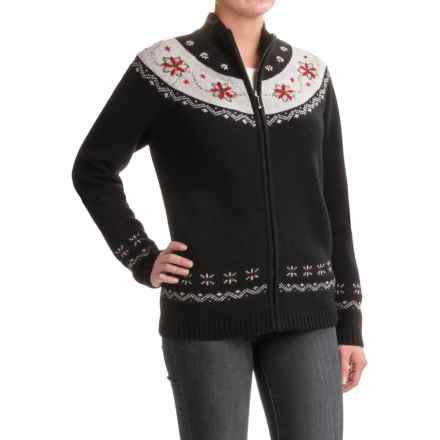 Woolrich Poinsettia Cardigan Sweater - Lambswool (For Women) in Black - Closeouts