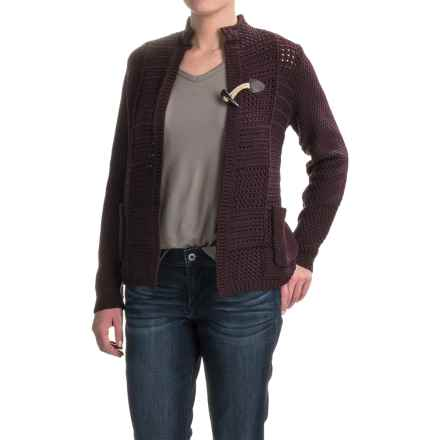Woolrich Poppy Ridge Pointelle Cardigan Sweater (For Women) in Burgundy - Closeouts
