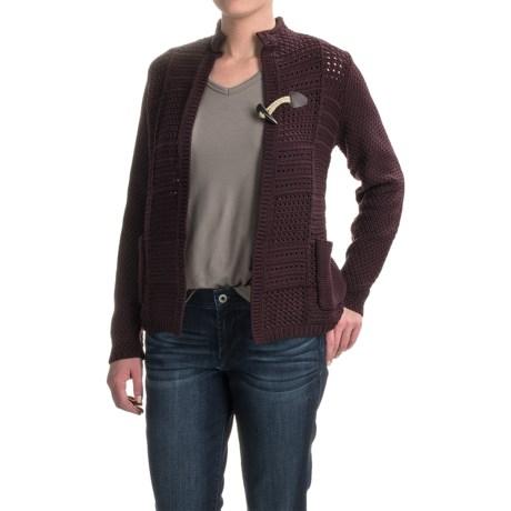 Woolrich Poppy Ridge Pointelle Cardigan Sweater (For Women) in Burgundy