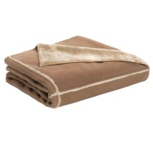 "Woolrich Prairie Fleece and Faux-Fur Throw Blanket - Reversible, 50x68"" in Buckskin - Closeouts"