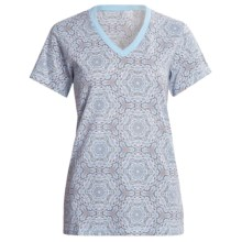 Woolrich Printed V-Neck Shirt - Short Sleeve (For Women) in Lilac - Closeouts