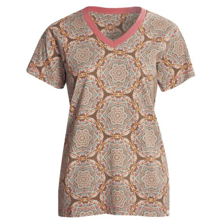 Woolrich Printed V-Neck Shirt - Short Sleeve (For Women) in Soft Ruby