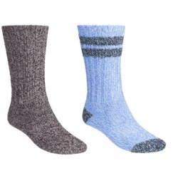 Woolrich Ragg Socks - 2-Pack, Midweight, Crew (For Women) in Brown/Sky