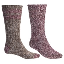 Woolrich Ragg Socks - 2-Pack, Midweight, Crew (For Women) in Burgundy/Cocoa - Closeouts