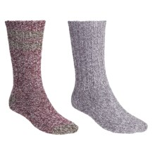 Woolrich Ragg Socks - 2-Pack, Midweight, Crew (For Women) in Grey/Burgundy - Closeouts
