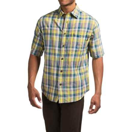 Woolrich Red Creek Plaid Shirt - Short Sleeve (For Men) in Lemongrass - Closeouts