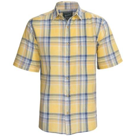 Woolrich Red Creek Plaid Shirt - Short Sleeve (For Men) in Wasabiabi