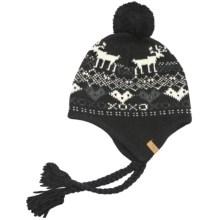 Woolrich Reindeer Hat - Jacquard Wool Blend, Ear Flaps (For Women) in Black - Closeouts