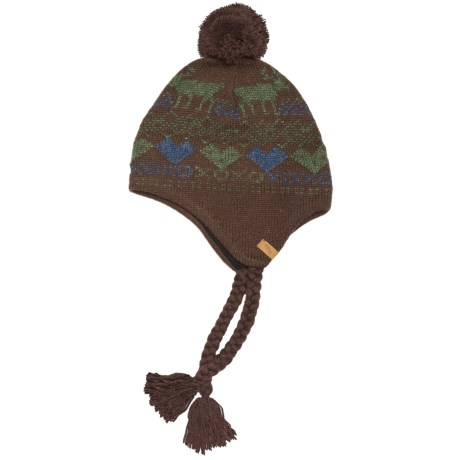 Woolrich Reindeer Hat - Jacquard Wool Blend, Ear Flaps (For Women) in Brown
