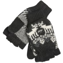 Woolrich Reindeer Pop-Top Mittens - Jacquard Wool Blend (For Women) in Black - Closeouts