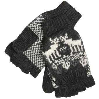 Woolrich Reindeer Pop-Top Mittens - Jacquard Wool Blend (For Women) in Black