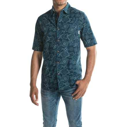 Woolrich Reissued Printed Shirt - Short Sleeve (For Men) in Deep Indigo - Closeouts