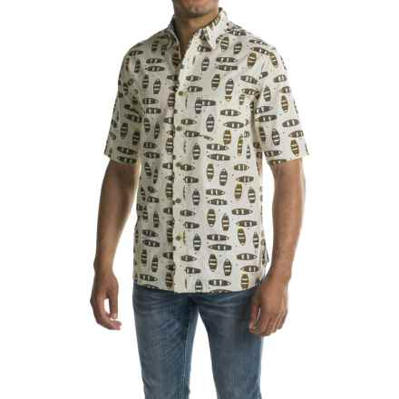 Woolrich Reissued Printed Shirt - Short Sleeve (For Men) in Wool Cream - Closeouts