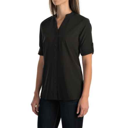 Woolrich Rendezvous Split Neck Shirt - UPF 25+, Roll-Up 3/4 Sleeve (For Women) in Black - Closeouts