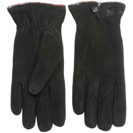 Woolrich Richville Suede Gloves - Chenille Fleece Lined (For Women) in Black - Closeouts